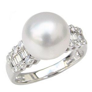 母の日 2019 パールリング 真珠指輪 南洋白蝶真珠 ホワイトピンク パール 11mm プラチナ PT900 ダイヤモンド
