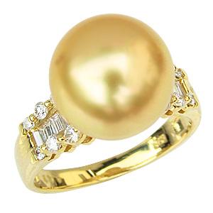 母の日 2019 パール 真珠 リング 指輪 南洋ゴールデンパール K18 ゴールド
