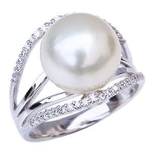 パールリング 真珠指輪 ダイヤモンド 0.22ct ホワイトゴールド 18金 K18WG ホワイトパール 南洋白蝶真珠 12mm 普段使い