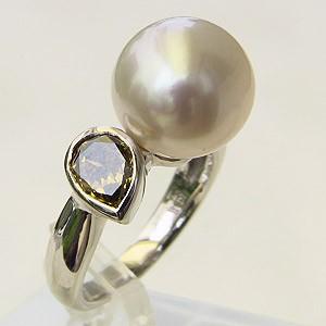 南洋白蝶真珠 リング K18WG ホワイトゴールド ブラウンダイヤモンド 指輪