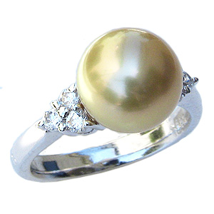 母の日 2019 真珠 パール リング 南洋白蝶真珠 10mm K18WG ホワイトゴールド リング ダイヤモンド 指輪 ゴールド系
