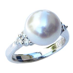 母の日 2019 真珠 パール リング 指輪 南洋白蝶真珠 ダイヤモンド ピンクホワイト系 10mm Pt900 プラチナ
