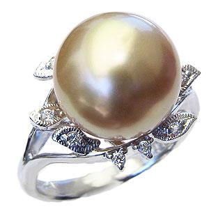 母の日 2019 真珠 パール リング 南洋白蝶真珠 ゴールド系 12mm K18WG ホワイトゴールド ダイヤモンド 真珠 パール 指輪