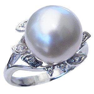 母の日 2019 真珠 パール リング 南洋白蝶真珠 12mm PT900 プラチナ ダイヤモンド 0.10ct リング