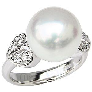 真珠パール リング 南洋白蝶真珠 PT900 プラチナ 直径11mm ピンクホワイト系 ダイヤモンド 8石 合計0.21ct 指輪