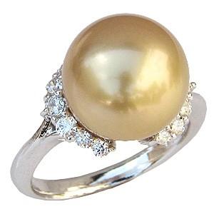 真珠パール リング 南洋白蝶真珠 18金 K18WG ホワイトゴールド 真珠の直径12mm ゴールド系 ダイヤモンド 14石 合計0.41ct リング 指輪 普段使い