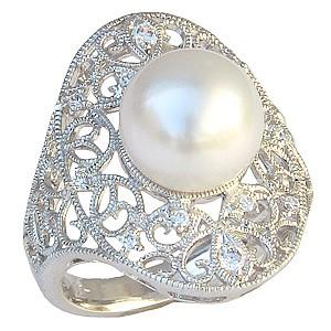 母の日 2019 真珠パール リング 南洋白蝶真珠 PT900 プラチナ 直径10mm ホワイトピンク系 ダイヤモンド 12石 合計0.17ct 指輪