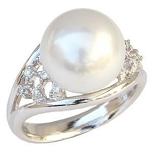 真珠パール リング 南洋白蝶真珠 18金 K18WG ホワイトゴールド 直径12mm ホワイトピンク系 ダイヤモンド 12石 合計0.12ct 指輪 普段使い