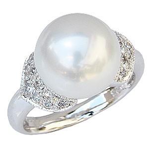 母の日 2019 真珠パール リング 南洋白蝶真珠 K18WG ホワイトゴールド 直径11mm ホワイトピンク系 ダイヤモンド 20石 合計0.23ct 指輪