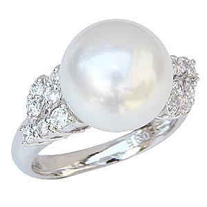 母の日 2019 真珠パール リング 南洋白蝶真珠 K18WG ホワイトゴールド 直径11mm ホワイトピンク系 ダイヤモンド 14石 合計0.40ct 指輪