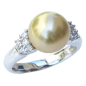 母の日 2019 真珠 パール リング 南洋白蝶真珠 10mm Pt900 プラチナ リング ダイヤモンド 指輪 ゴールド系