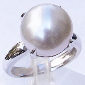 真珠 パール リング 南洋白蝶真珠 12mm ホワイトゴールド 真珠 パール 指輪