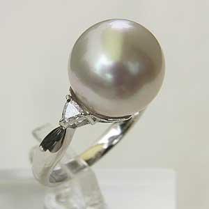母の日 2019 南洋白蝶真珠 PT900 プラチナ ダイヤモンドリング ピンクホワイト系 12mm ラウンド形 指輪