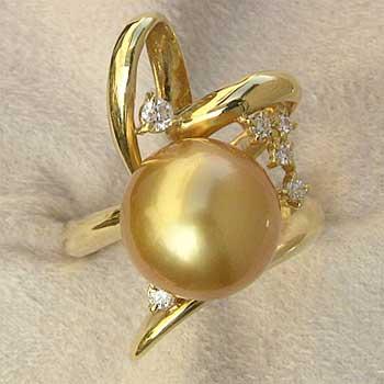 母の日 2019 真珠 指輪 パール リング 南洋白蝶真珠 ゴールド系 11mm K18 ダイヤモンド
