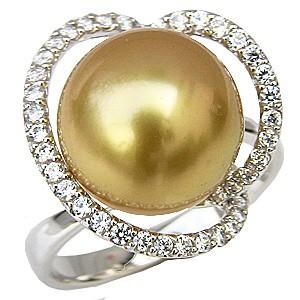 ブライダル リング パール 指輪 PT900プラチナ 南洋真珠パールリング ダイヤモンド