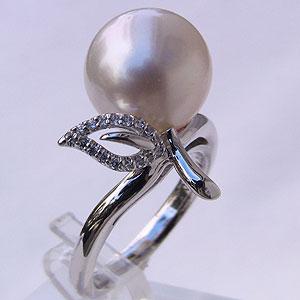 パール 南洋白蝶真珠 ダイヤモンド0.09ct 18金 K18WG ホワイトゴールド リング ピンクホワイト系 12mm ラウンド形 指輪 普段使い カジュアル