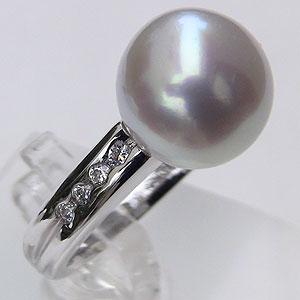 パール 南洋白蝶真珠 ダイヤモンド0.15ct PT900 プラチナ900 リング ピンクホワイト系 10mm ラウンド形 指輪