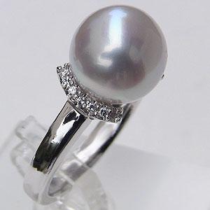 真珠パール 6月誕生石 指輪 南洋白蝶真珠 径10mm ピンクホワイト系 ダイヤモンド K18WG ホワイトゴールド 指輪