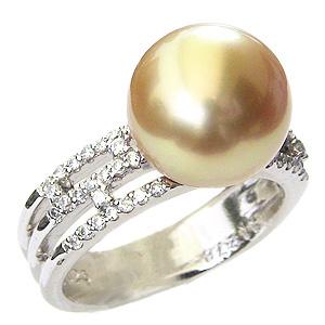 母の日 2019 パール 真珠 指輪 南洋白蝶真珠 11mm ゴールド系 K18WG ホワイトゴールド ダイヤモンド リング