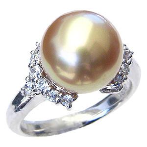 母の日 2019 真珠 パール 指輪 南洋白蝶真珠 ゴールド系 11mm K18WG ホワイトゴールド リング ダイヤモンド付