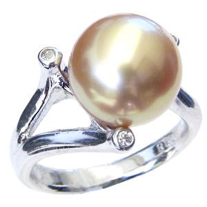 パール 真珠 指輪 南洋白蝶真珠 11mm ゴールド系 リング ダイヤモンド付 18金 K18WG ホワイトゴールド 普段使い