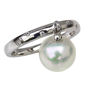 パール 指輪 リング 真珠 南洋真珠 白蝶真珠 ホワイトゴールド ダイヤモンド 揺れるパールリング スウィングパール カジュアル