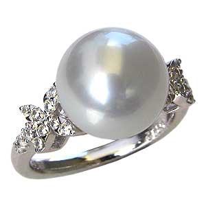 真珠パール リング 南洋白蝶真珠 PT900 プラチナ 直径11mm ピンクホワイト系 ダイヤモンド 22石 合計0.26ct 指輪