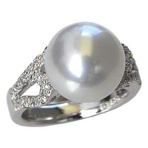 真珠パール リング 南洋白蝶真珠 18金 K18WG ホワイトゴールド 直径11mm ピンクホワイト系 ダイヤモンド 26石 合計0.17ct 指輪 普段使い