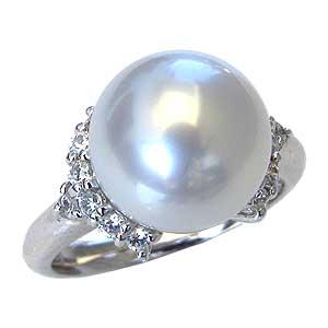 真珠パール リング 南洋白蝶真珠 PT900 プラチナ 直径11mm ピンクホワイト系 ダイヤモンド 14石 合計0.31ct 指輪