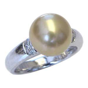 母の日 2019 真珠パール リング 南洋白蝶真珠 K18WG ホワイトゴールド 真珠の直径10mm ゴールド系 ダイヤモンド 6石 合計0.08ct 指輪 リング