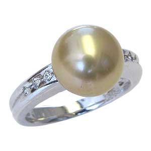 真珠パール リング 南洋白蝶真珠 PT900 プラチナ 真珠の直径10mm ゴールド系 ダイヤモンド 6石 合計0.10ct 指輪 リング