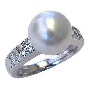 母の日 2019 真珠パール リング 南洋白蝶真珠 K18WG ホワイトゴールド 直径10mm ホワイトピンク系 ダイヤモンド 16石 合計0.36ct 指輪