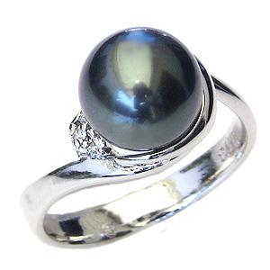 真珠 パール リング タヒチ黒蝶真珠 9mm 指輪 リング 18金 K18WG ホワイトゴールド ダイヤモンド 普段使い
