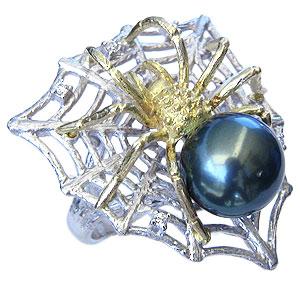 真珠 パール リング 蜘蛛 くも クモ タヒチ黒蝶真珠 11mm リング K18WG ホワイトゴールド K18 ゴールド 18金 ダイヤモンド 真珠 パール 指輪 リング 普段使い カジュアル