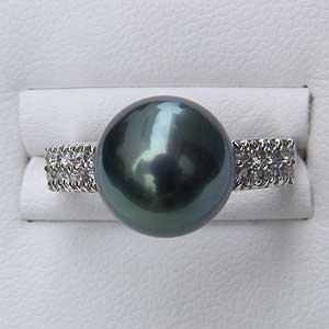 真珠 パール 真珠リング パール タヒチ黒蝶真珠 指輪 PT900 プラチナ8OvN0mwn