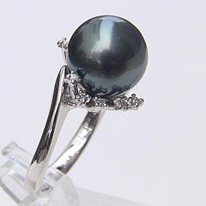 タヒチ黒蝶真珠 リング ダイヤモンド パール グリーン系 11.5mm 18金 K18WG ホワイトゴールド 指輪 普段使い