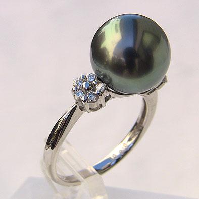 タヒチ黒蝶真珠 ダイヤモンド パール リング グリーン系 11mm 18金 K18WG ホワイトゴールド 指輪 普段使い