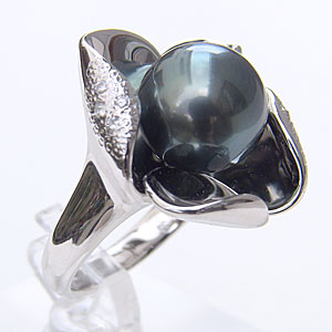 タヒチ黒蝶真珠 リング ダイヤモンド パール グリーン系 11mm PT900 プラチナ 指輪