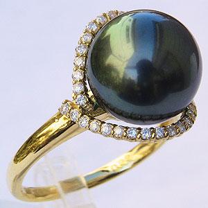 真珠 パール リング タヒチ黒蝶真珠 ブラックパール 11mm 18金 K18 ゴールド リング 普段使い