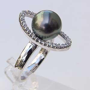 タヒチ黒蝶真珠 PT900 プラチナ リング ダイヤモンド パール リング グリーン系 9mm 指輪