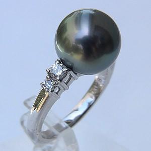 タヒチ黒蝶真珠 リング ダイヤモンド 0.28ct 11mm グリーン系 PT プラチナ 指輪