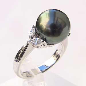 母の日 2019 タヒチ黒蝶真珠 ダイヤモンド パール リング グリーン系 11mm PT900プラチナ 指輪