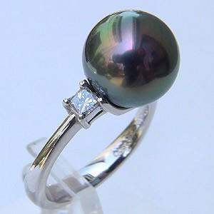 タヒチ黒蝶真珠 リング ダイヤモンド パール ピーコック系 11mm 18金 K18WG ホワイトゴールド 指輪 普段使い