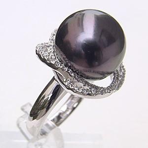 母の日 2019 タヒチ黒蝶真珠 リング ダイヤモンド パール グリーン系 15mm K18WG ホワイトゴールド 指輪