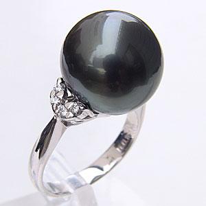 タヒチ黒蝶真珠 リング ダイヤモンド パール グリーン系 13.8mm PT900 プラチナ 指輪