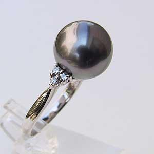 タヒチ黒蝶真珠 リング リング ダイヤモンド パール リング グリーン系 11mm 18金 K18WG指輪 普段使い