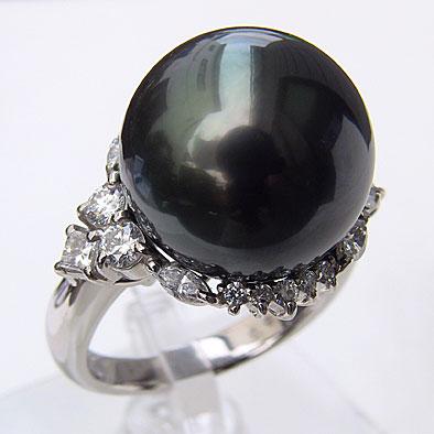 タヒチ黒蝶真珠 リング ダイヤモンド パール ブラック系 15mm PT900 プラチナ 指輪 カジュアル