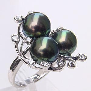 母の日 2019 タヒチ黒蝶真珠 リング ダイヤモンド パール グリーン系 9-9.5mm K18WG ホワイトゴールド 指輪