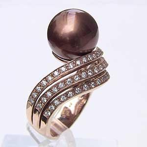 真珠 パール リング タヒチ黒蝶真珠 11mm ゴールドブラウン系 ピンクゴールド ショコラカラー 指輪 カジュアル