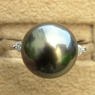タヒチ黒蝶真珠 リング ダイヤモンド パール グリーン系 11mm 18金 K18WG ホワイトゴールド 普段使い